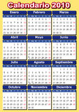 Spanish calendar 2010. Spanish 2010 vector calendar. Easy to edit and apply Stock Images