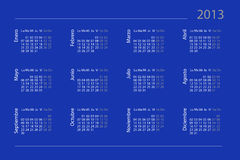Spanish calendar for 2013 royalty free stock photography