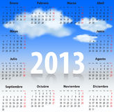 Spanish Calendar 2013 CLOUDS SKY. Calendar for 2013 year in Spanish with clouds in the blue sky. Mondays first. Vector illustration Vector Illustration