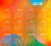 Spanish Calendar for 2016 on abstract circles Stock Images