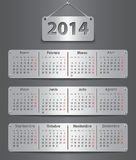2014 Spanish calendar. Spanish calendar for 2014 with attached metallic tablets. Vector illustration royalty free illustration