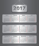 2017 Spanish calendar. Calendar for 2017 in Spanish with attached metallic tablets. Vector illustration Stock Image