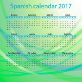 Spanish calendar 2017 on blue background. This is vector illustration ideal for printing, web and app, printing house royalty free illustration