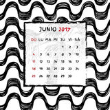 Spanish Calendar 2017. Brazilian Ipanema pattern. Vector pattern Royalty Free Stock Photography