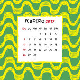 Spanish Calendar 2017. Brazilian Ipanema pattern. Vector pattern Stock Images