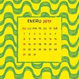 Spanish Calendar 2017. Brazilian Ipanema pattern. Vector pattern Stock Image