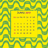 Spanish Calendar 2017. Brazilian Ipanema pattern. Vector pattern Royalty Free Stock Photos