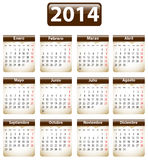 2014 Spanish calendar. Brown calendar for 2014 year in Spanish with torn papers. Vector illustration stock illustration