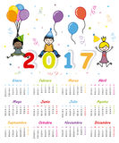 Spanish Calendar 2017. Children calendar. Week starts on Monday Royalty Free Stock Image