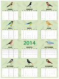 2014 spanish calendar. With different european common birds stock illustration