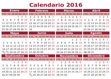 Spanish Calendar 2016. 2016 calendar in Spanish. Easy for edit and apply. Calendario 2016 Stock Images