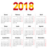 Spanish Calendar for 2018 and flag colors on 2018 digits. Mondays first. Calendar grid for print, web design, presentation, business or office uses. Vector Stock Photography