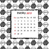 Spanish Calendar 2017. Football year. Hand drawn soccer pattern Royalty Free Stock Photography