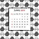 Spanish Calendar 2017. Football year. Hand drawn soccer pattern Royalty Free Stock Photos
