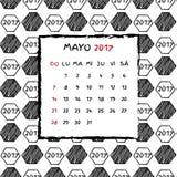 Spanish Calendar 2017. Football year. Hand drawn soccer pattern Stock Photo