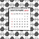 Spanish Calendar 2017. Football year. Hand drawn soccer pattern Stock Photography