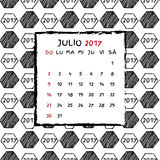 Spanish Calendar 2017. Football year. Hand drawn soccer pattern Royalty Free Stock Photo