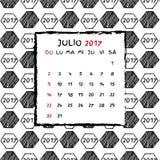 Spanish Calendar 2017. Football year. Hand drawn soccer pattern Royalty Free Stock Photo