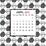 Spanish Calendar 2017. Football year. Hand drawn soccer pattern Stock Photography