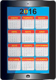 Spanish calendar 2016. Graphic illustration of the Spanish calendar 2016 stock illustration