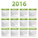 2016 Spanish calendar. Green calendar for 2016 year in Spanish language. Vector royalty free illustration