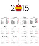Spanish calendar grid for 2015 with flag like tag. Mondays first. Vector illustration Royalty Free Stock Image