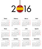 Spanish calendar grid for 2016 with flag like tag. Mondays first. Vector illustration Royalty Free Stock Photography