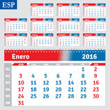Spanish calendar 2016. Horizontal calendar grid, vector stock illustration