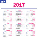 Spanish calendar 2017. Horizontal calendar grid, vector Stock Photography