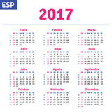 Spanish calendar 2017. Horizontal calendar grid, vector Stock Images
