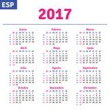 Spanish calendar 2017. Horizontal calendar grid, vector Stock Images