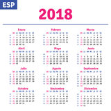 Spanish calendar 2018 Royalty Free Stock Image