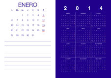 Spanish Calendar 2014. Modern 2014  calendar Spanish Royalty Free Stock Image