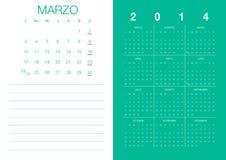Spanish Calendar 2014. Modern 2014  calendar Spanish Stock Image