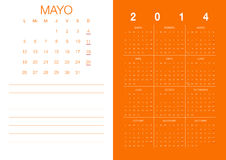 Spanish Calendar 2014 Stock Photos