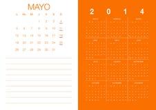 Spanish Calendar 2014. Modern 2014  calendar Spanish Stock Photos