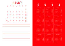 Spanish Calendar 2014 Royalty Free Stock Images