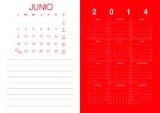 Spanish Calendar 2014. Modern 2014  calendar Spanish Royalty Free Stock Images