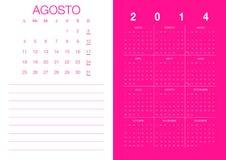 Spanish Calendar 2014. Modern 2014 calendar Spanish Stock Illustration