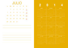 Spanish Calendar 2014 Royalty Free Stock Photos