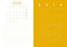 Spanish Calendar 2014. Modern 2014  calendar Spanish Royalty Free Stock Photos