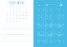 Spanish Calendar 2014. Modern 2014  calendar Spanish Stock Photo