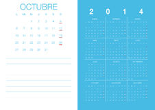 Spanish Calendar 2014. Modern 2014 calendar Spanish Royalty Free Illustration