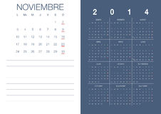 Spanish Calendar 2014 Stock Images