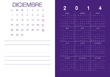 Spanish Calendar 2014 Stock Photo