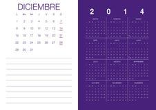 Spanish Calendar 2014. Modern 2014 calendar Spanish Vector Illustration