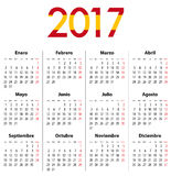Spanish Calendar for 2017. Mondays first. Spanish Calendar for 2017. Flag colors. Mondays first. Calendar grid for print, web design, presentation, business or Stock Image