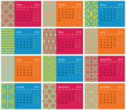 2016 Spanish calendar. Monthly spanish calendar for 2016 with ethnic decorations stock illustration