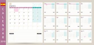 Spanish calendar 2019. Spanish calendar planner 2019, week starts on Monday, set of 12 months January - December, simple calendar template, set desk calendar vector illustration