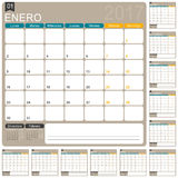 Spanish Calendar 2017. Spanish planning calendar 2017, week starts on Monday, vector illustration Royalty Free Stock Photography